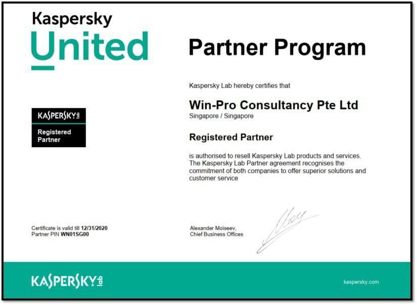 Kaspersky United Partner Win-Pro Consultancy Certified