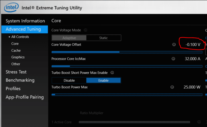 Intel XTU - reduce core voltage offset